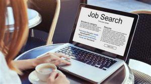 Job search on a laptop illustrative image