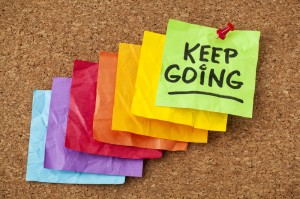 Illustrative image of keep going note
